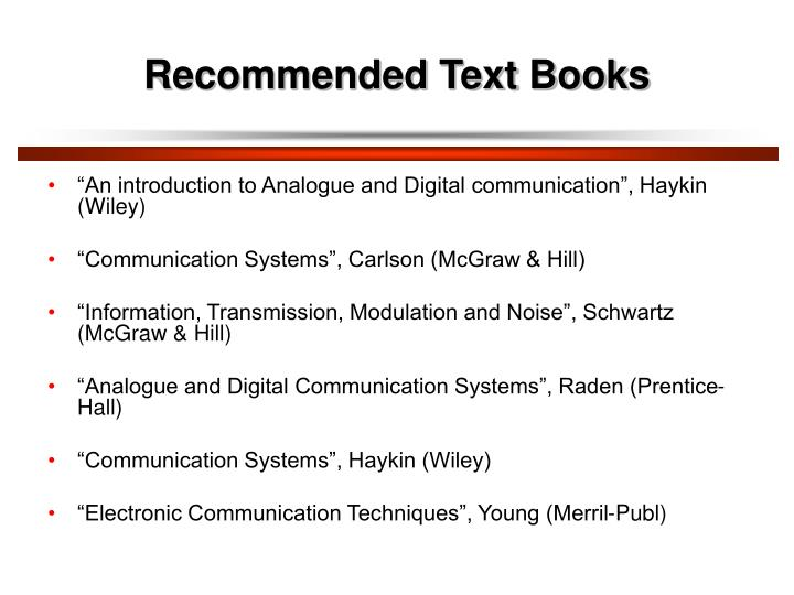 Recommended text books