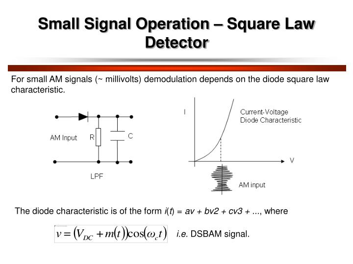 Small Signal Operation – Square Law Detector