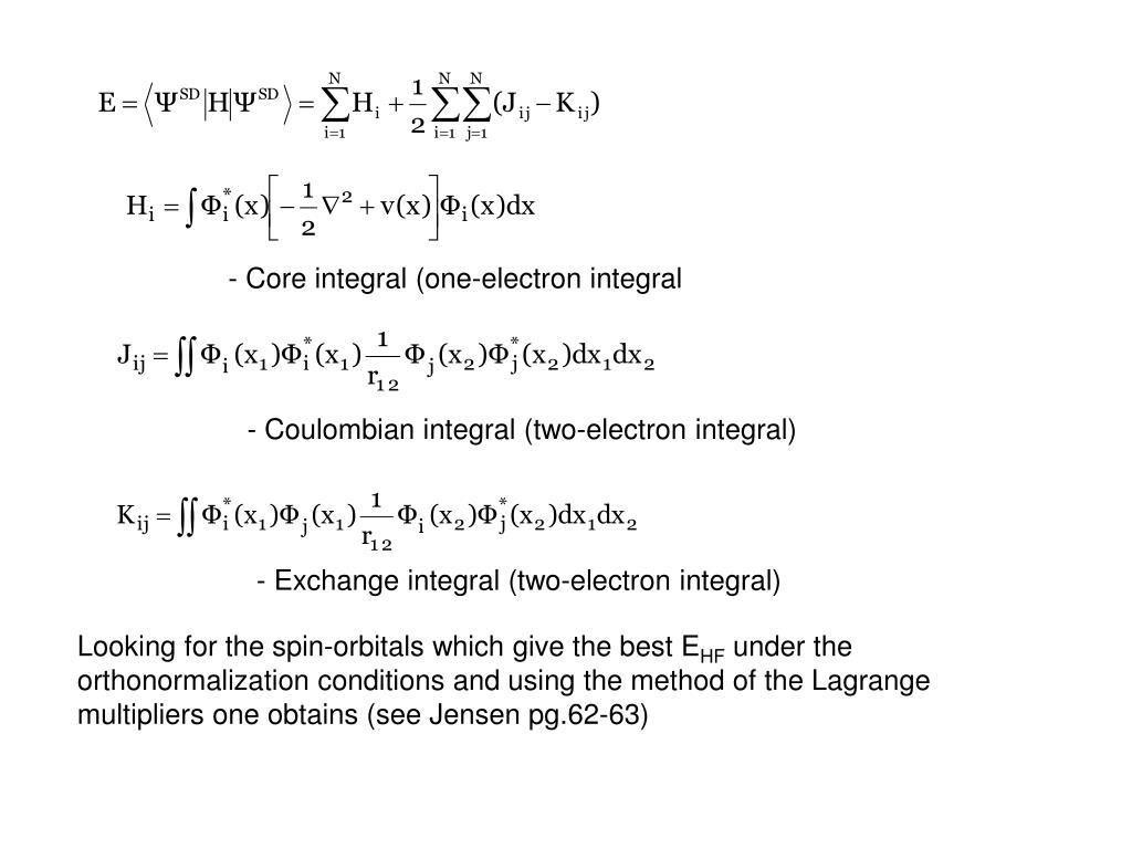- Core integral (one-electron integral