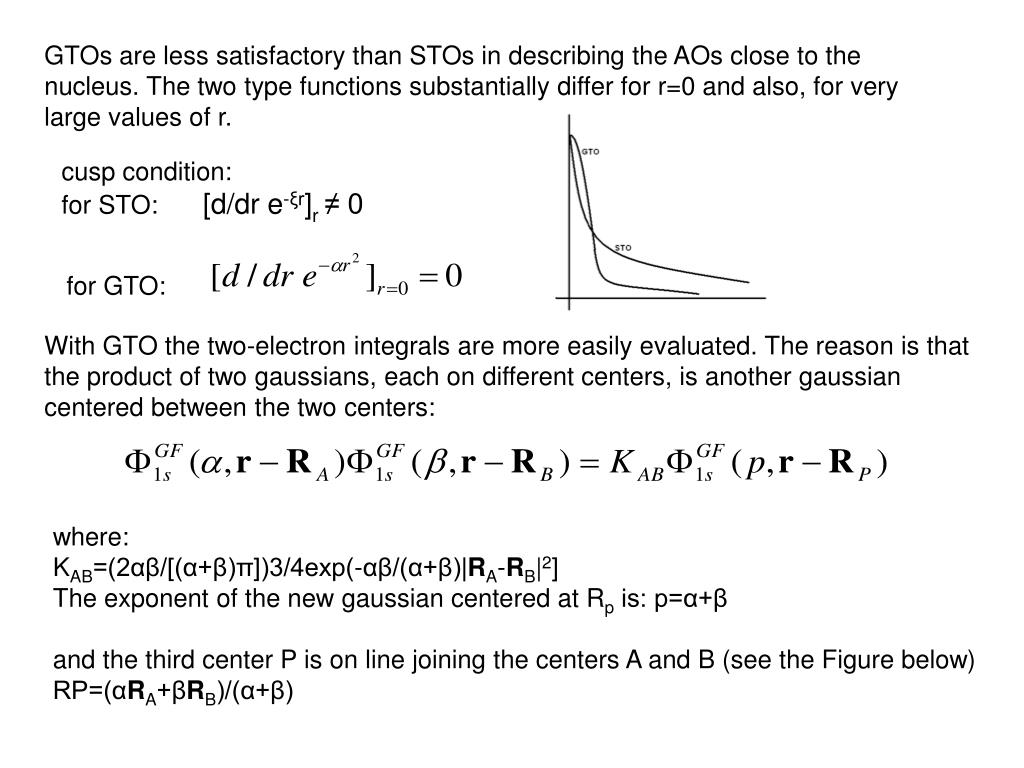 GTOs are less satisfactory than STOs in describing the AOs close to the nucleus. The two type functions substantially differ for r=0 and also, for very large values of r.