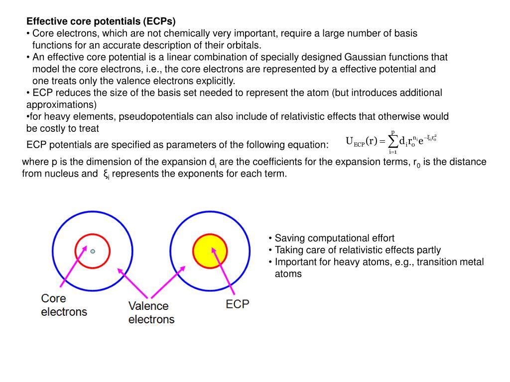 Effective core potentials (ECPs)