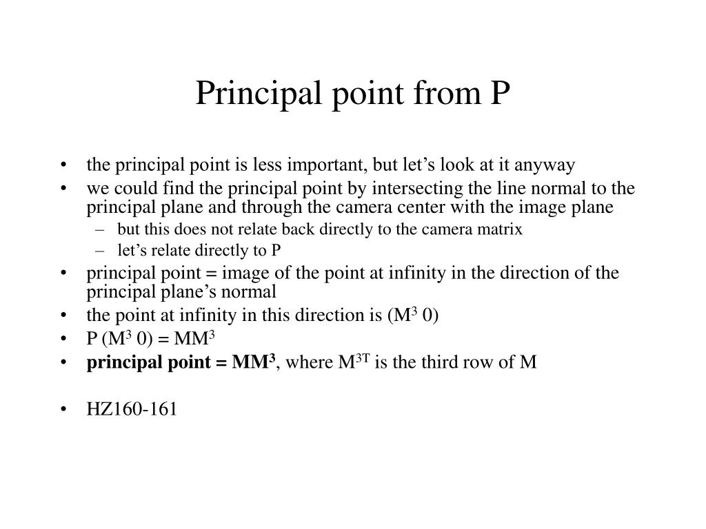 Principal point from P