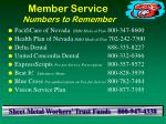 member service numbers to remember