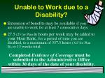 unable to work due to a disability