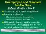 unemployed and disabled self pay plans