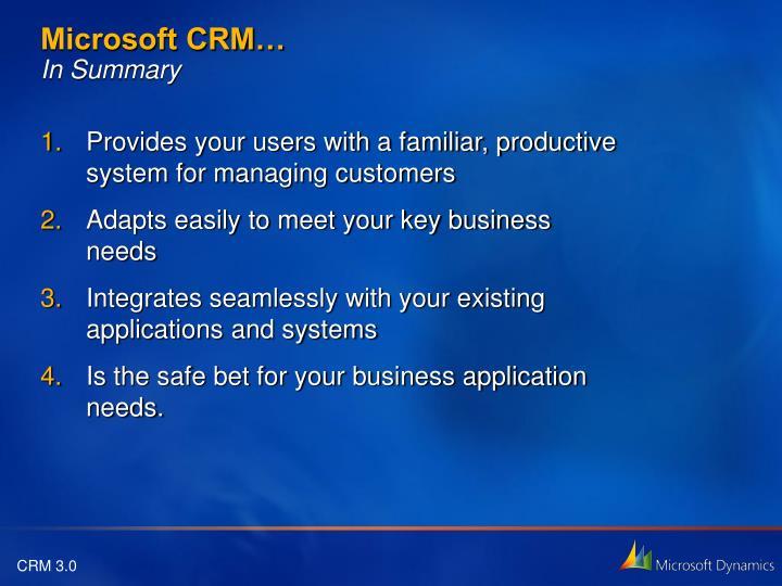 Microsoft CRM…