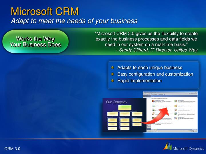 """""""Microsoft CRM 3.0 gives us the flexibility to create exactly the business processes and data fields we need in our system on a real-time basis."""""""
