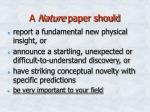 a nature paper should