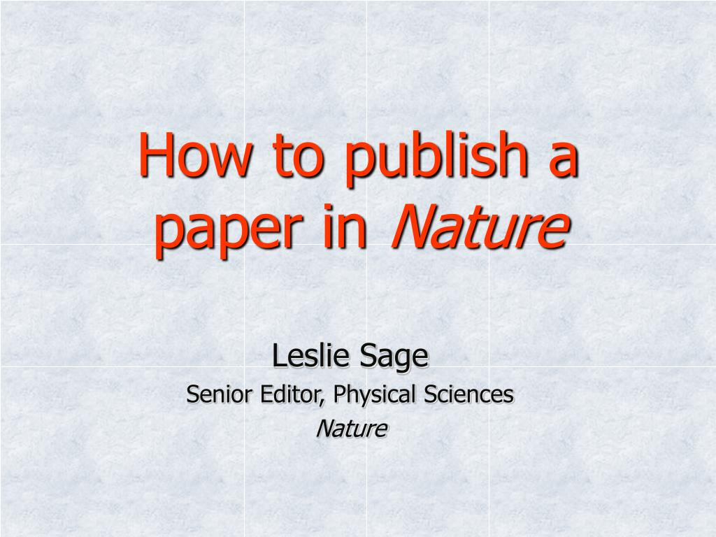 How to publish a paper in