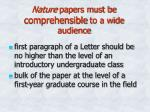 nature papers must be comprehensible to a wide audience