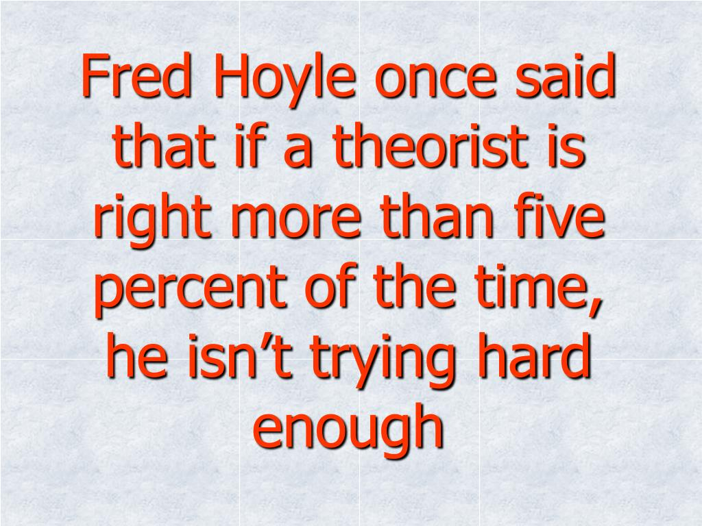 Fred Hoyle once said that if a theorist is right more than five percent of the time, he isn't trying hard enough