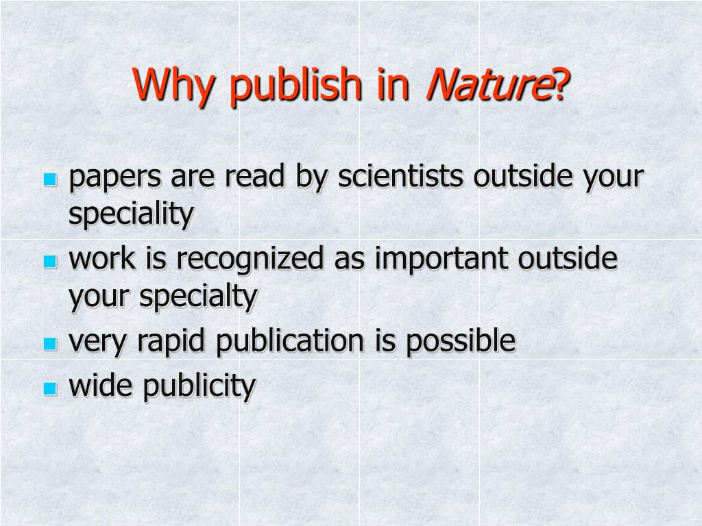 Why publish in