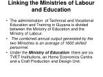 linking the ministries of labour and education