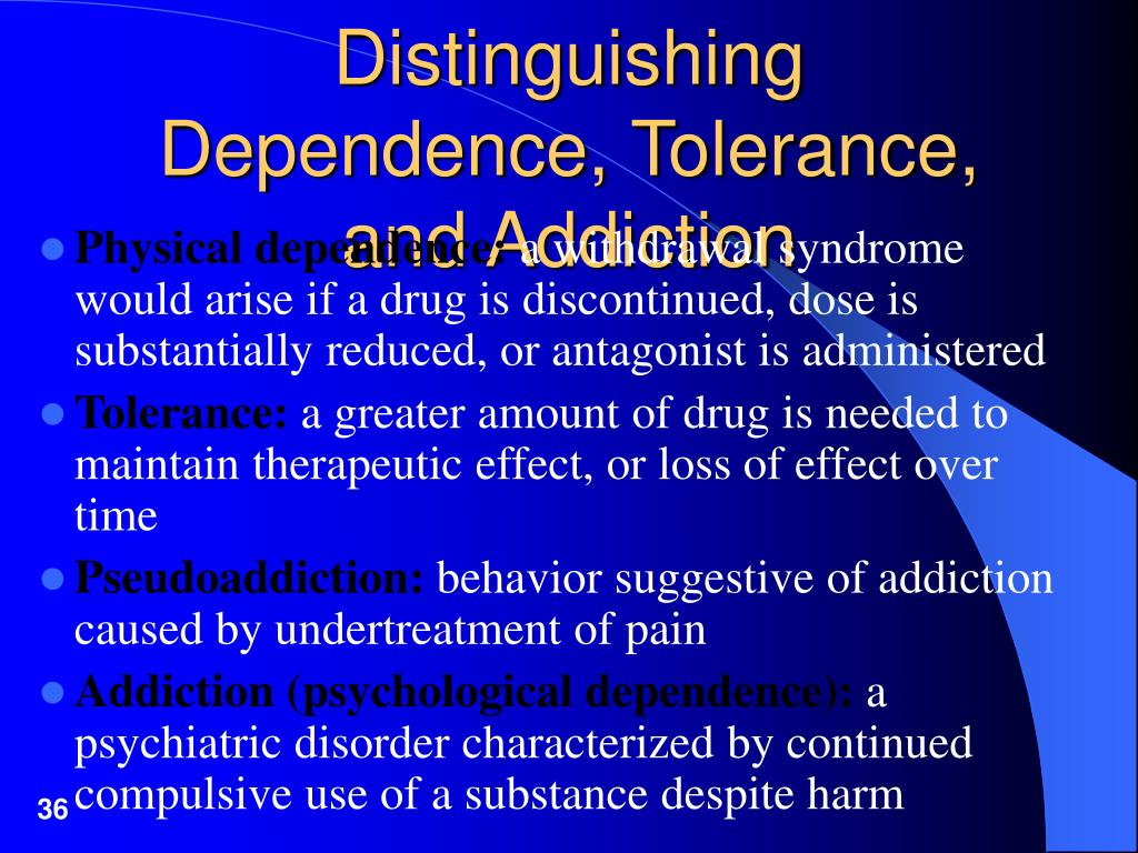 Distinguishing Dependence, Tolerance, and Addiction