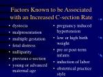 factors known to be associated with an increased c section rate