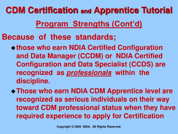 PPT - CDM Certification and Apprentice Programs The NDIA Process ...