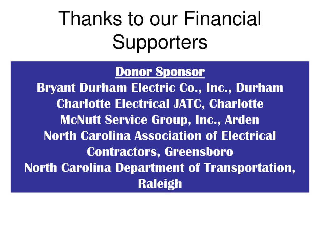 Thanks to our Financial Supporters