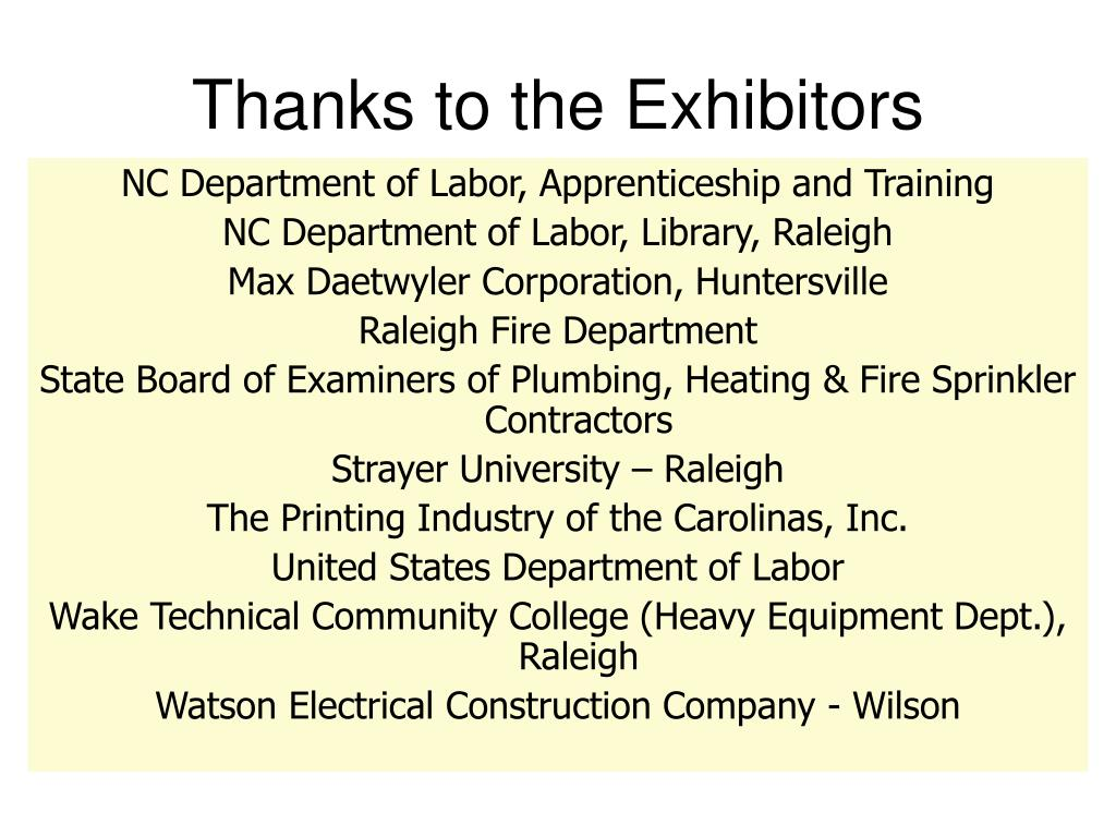 Thanks to the Exhibitors