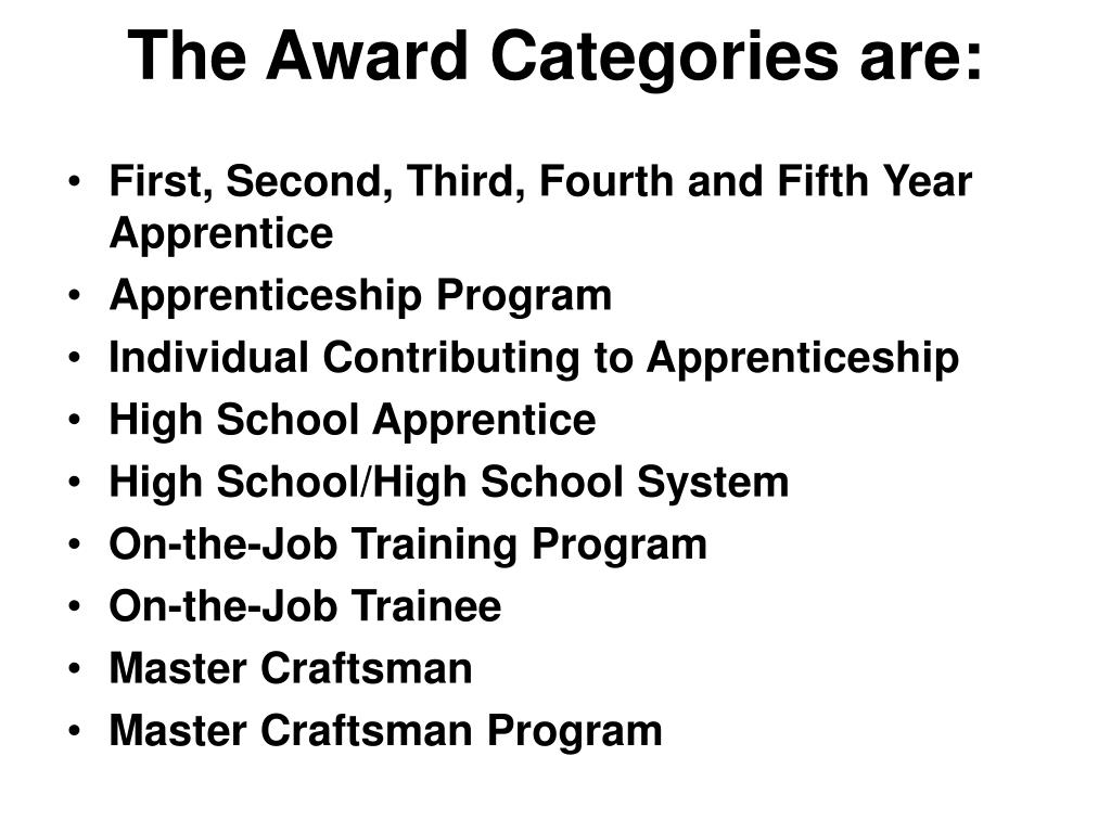 The Award Categories are: