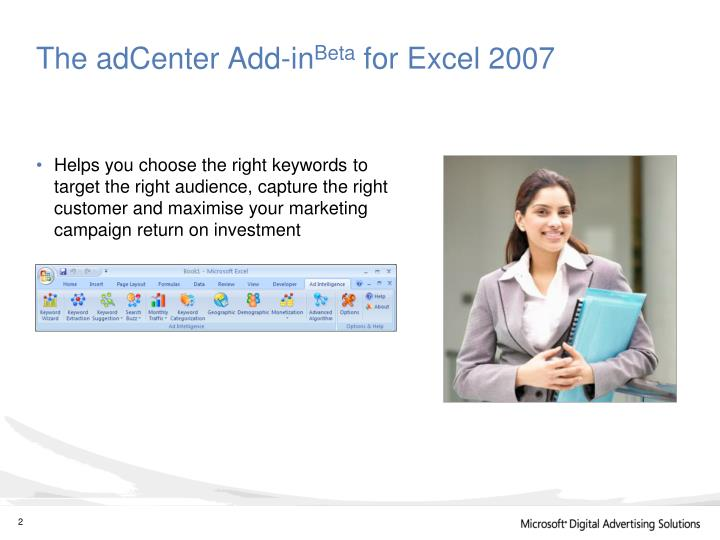 The adcenter add in beta for excel 2007