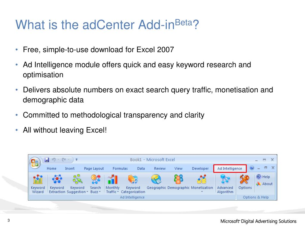 What is the adCenter Add-in
