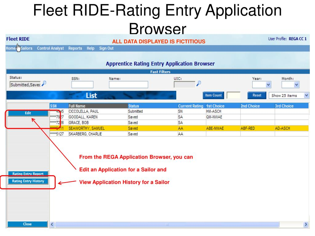 Fleet RIDE-Rating Entry Application Browser