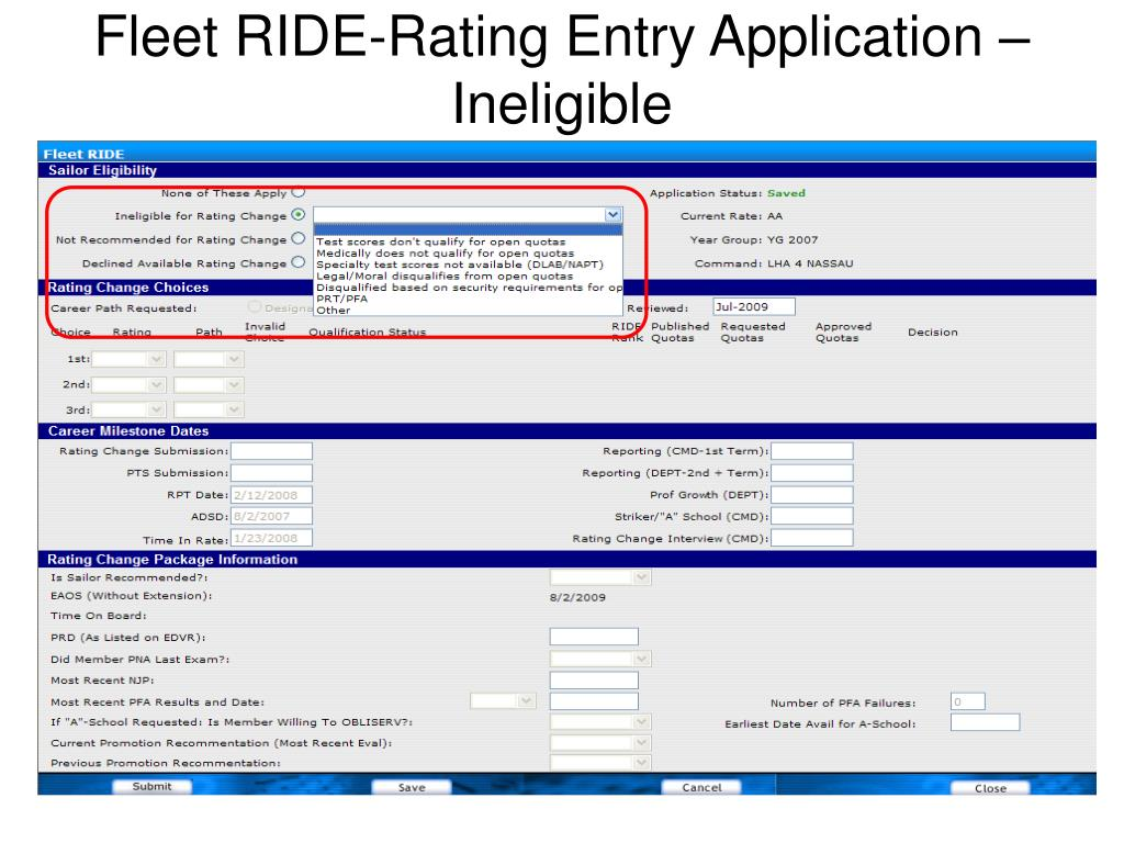 Fleet RIDE-Rating Entry Application – Ineligible