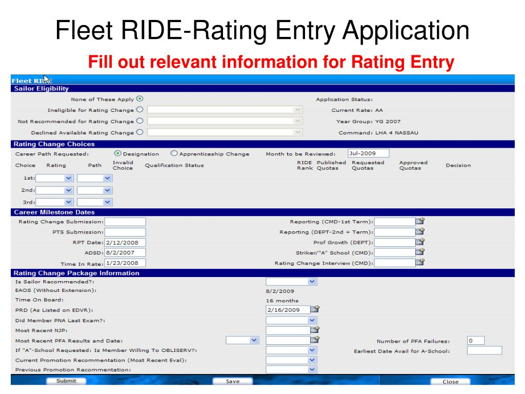 Fleet RIDE-Rating Entry Application