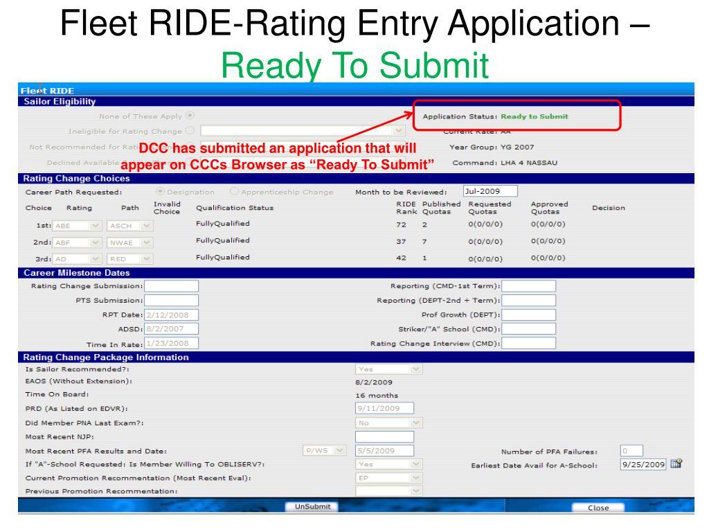 Fleet RIDE-Rating Entry Application –