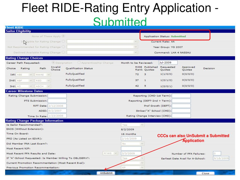 Fleet RIDE-Rating Entry Application -