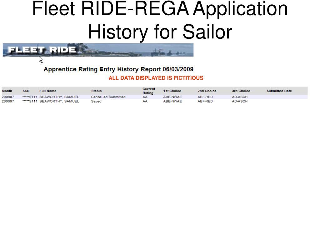 Fleet RIDE-REGA Application History for Sailor
