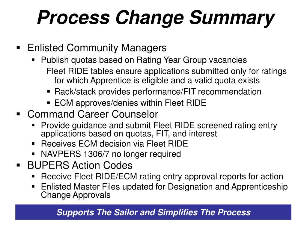 Process Change Summary