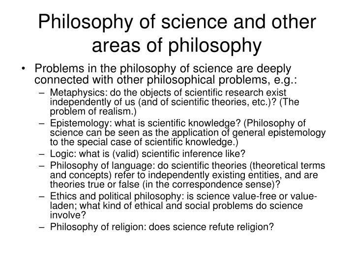 Philosophy of science and other areas of philosophy
