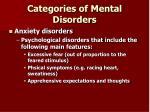 categories of mental disorders