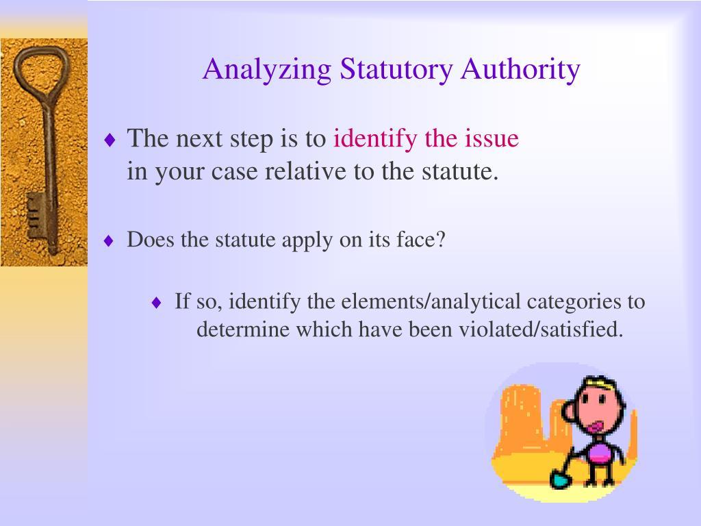 Analyzing Statutory Authority