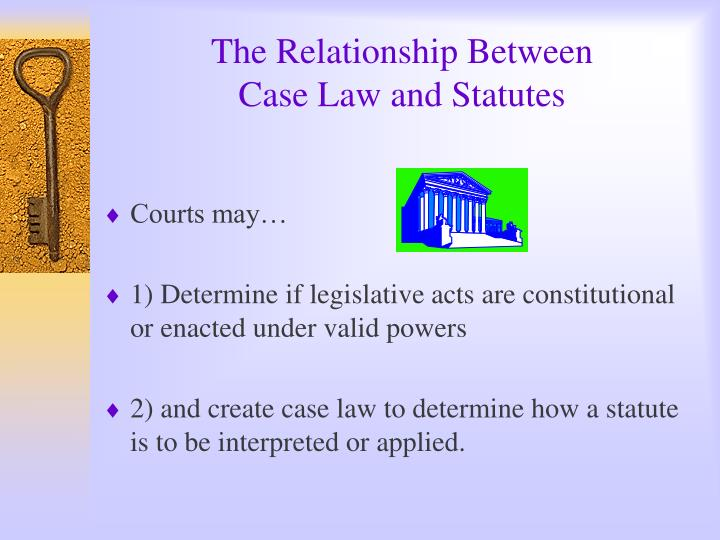 The relationship between case law and statutes