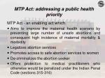 mtp act addressing a public health priority