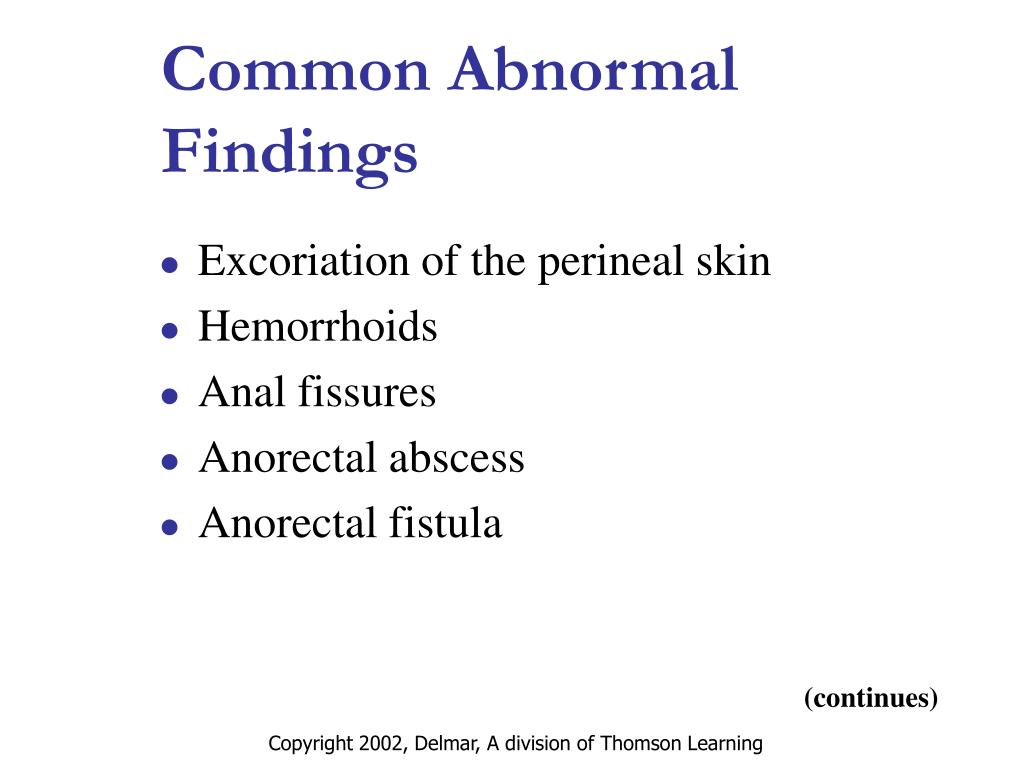 Common Abnormal Findings
