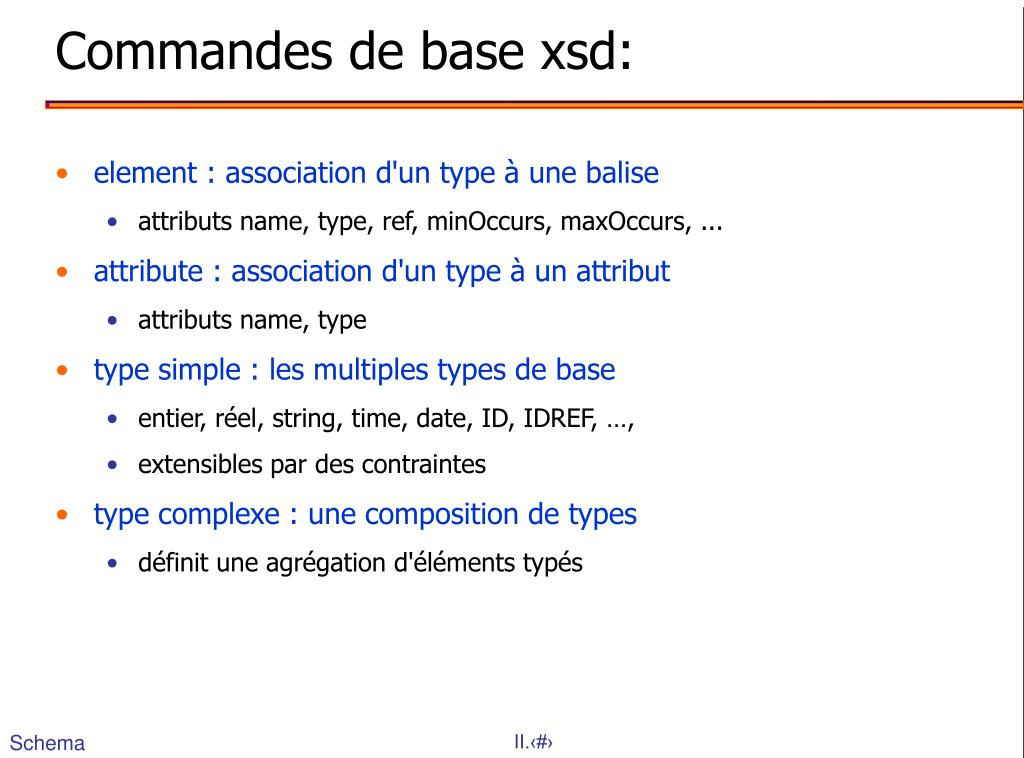Commandes de base xsd:
