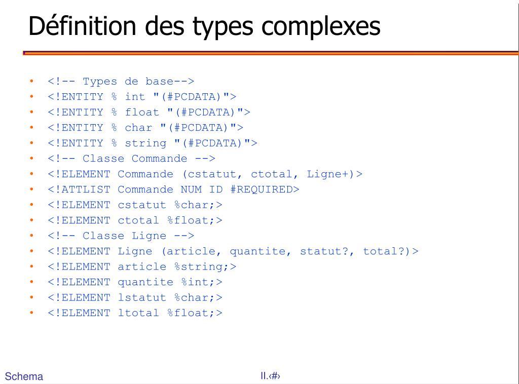 Définition des types complexes