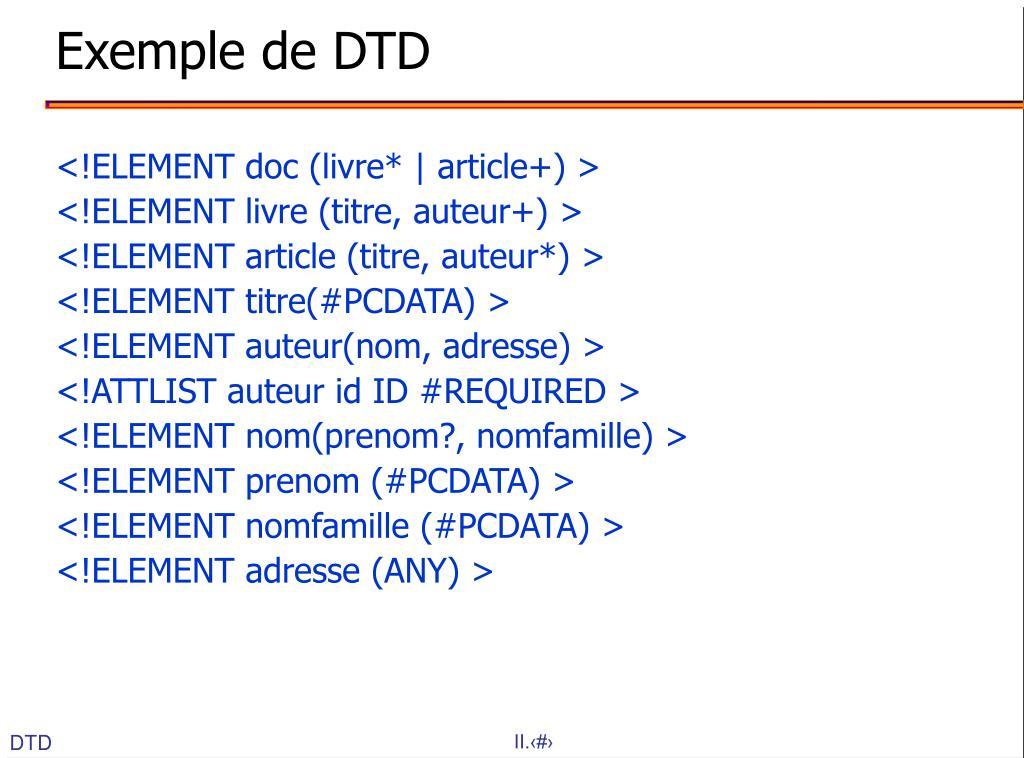 Exemple de DTD