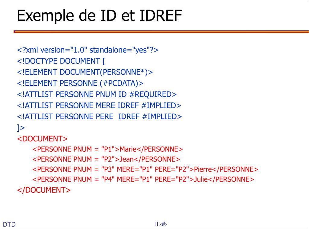 Exemple de ID et IDREF