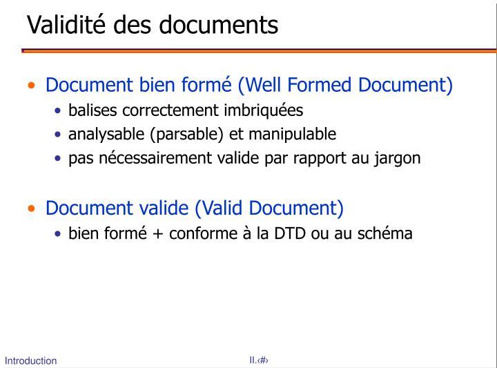 Validit des documents