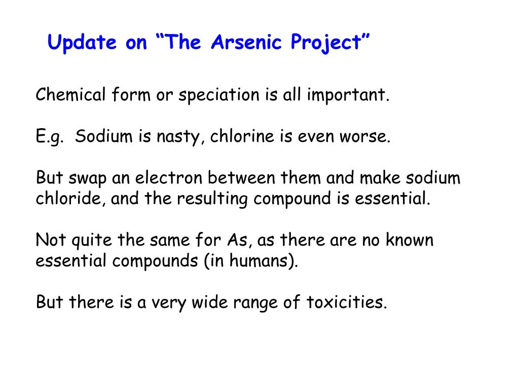 """Update on """"The Arsenic Project"""""""