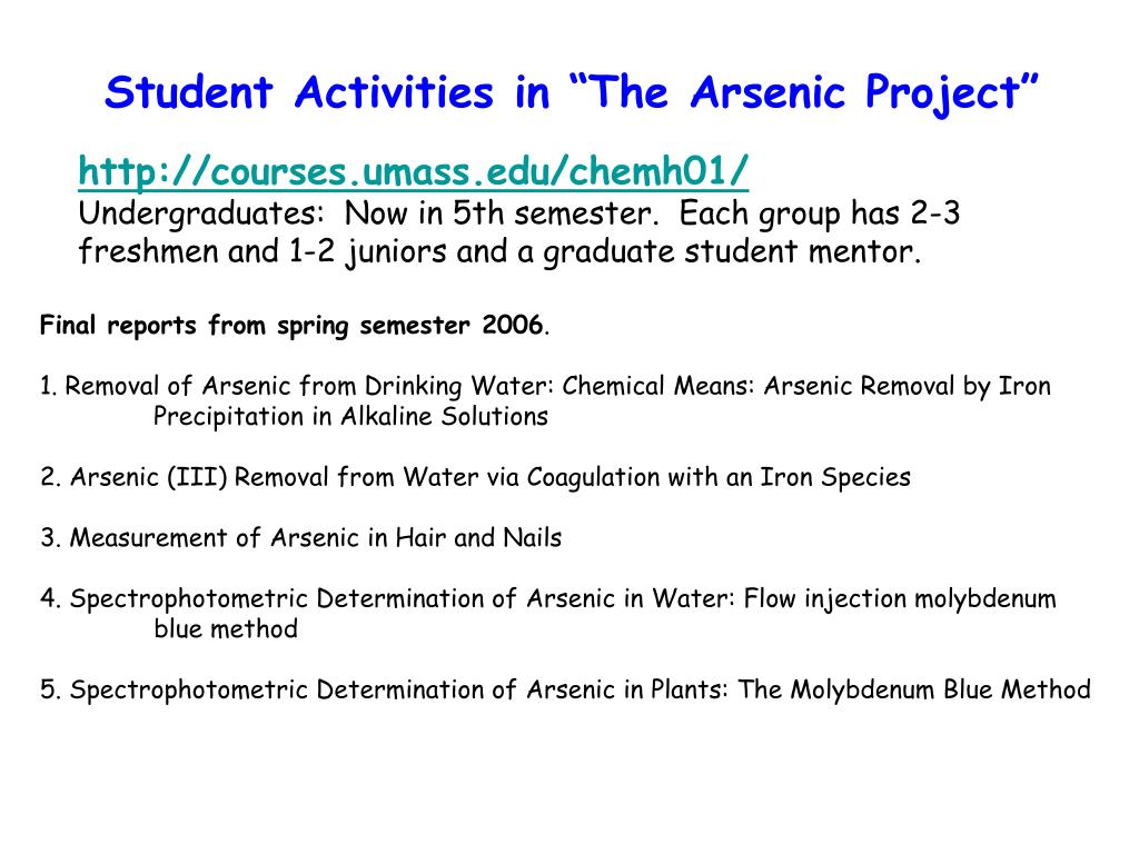 """Student Activities in """"The Arsenic Project"""""""