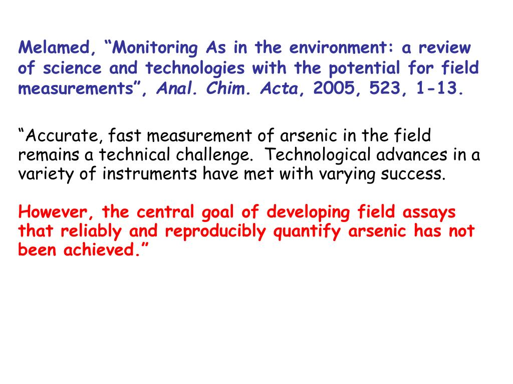 """Melamed, """"Monitoring As in the environment: a review of science and technologies with the potential for field measurements"""","""