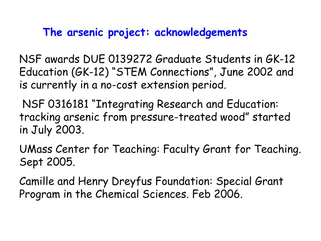 The arsenic project: acknowledgements