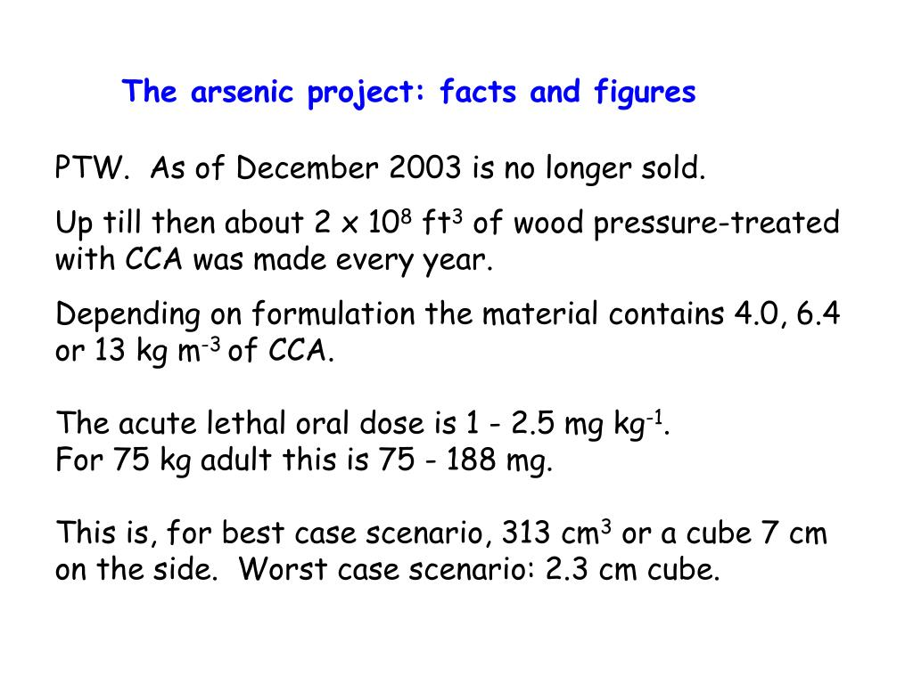 The arsenic project: facts and figures