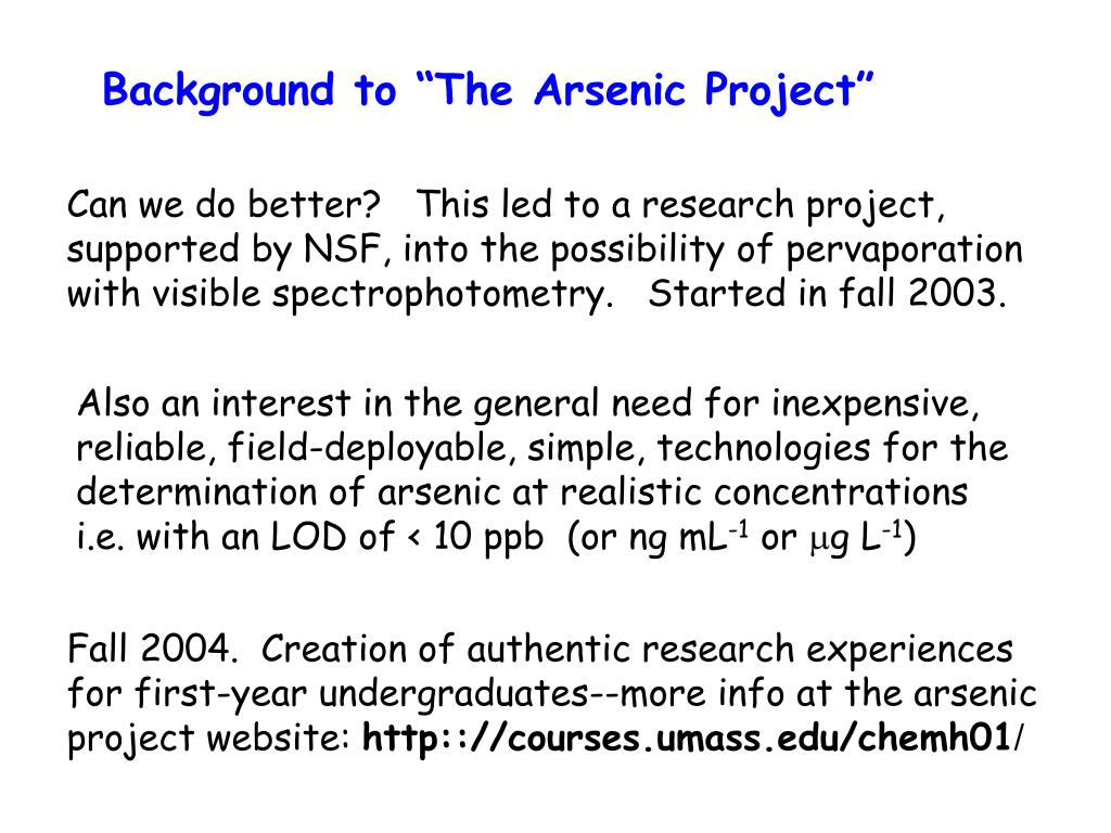 """Background to """"The Arsenic Project"""""""