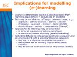 implications for modelling e learning